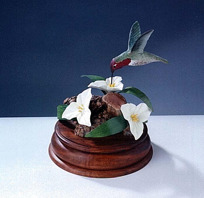Bass Wood Sculpture - Anna S Humming Bird by Carl Capps