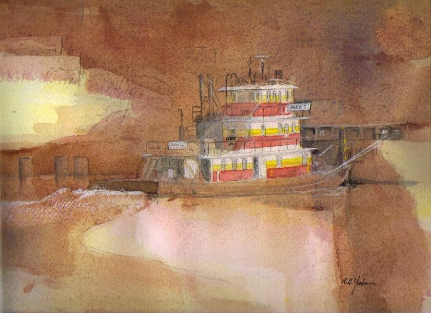 Towboat Painting - Anna S.  by Robert Yonke
