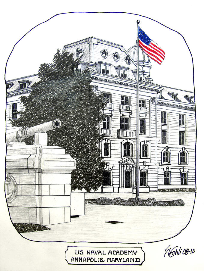 Us Naval Academy Buildings Drawings Drawing - Annapolis - Naval Academy by Frederic Kohli