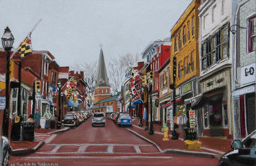 Annapolis Painting - Annapolis Main Street by Mary Susan Vaughn