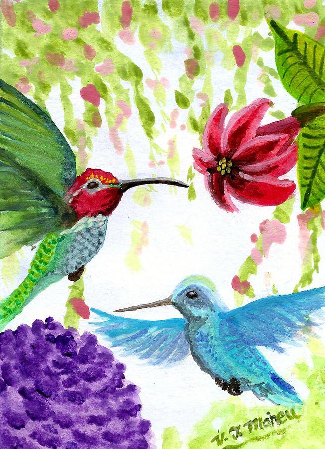 Anna's Hummingbird Pair by Vicki Maheu