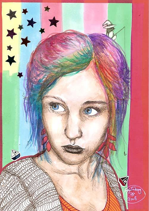 Stars Drawing - Anne Sofie by Freja Friborg
