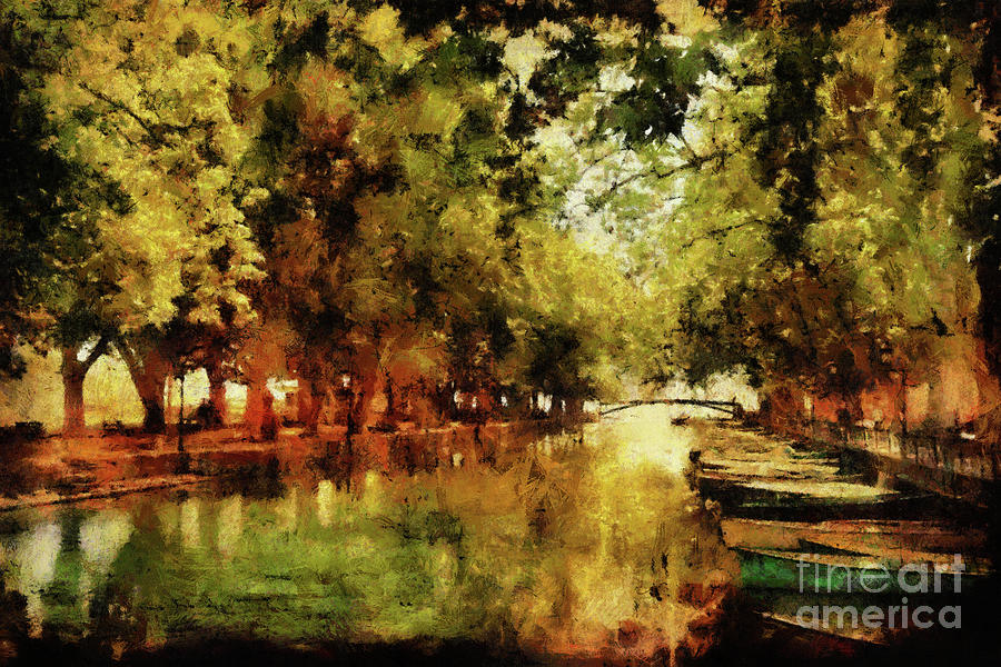 annecy france pont des amours digital art by ann garrett. Black Bedroom Furniture Sets. Home Design Ideas