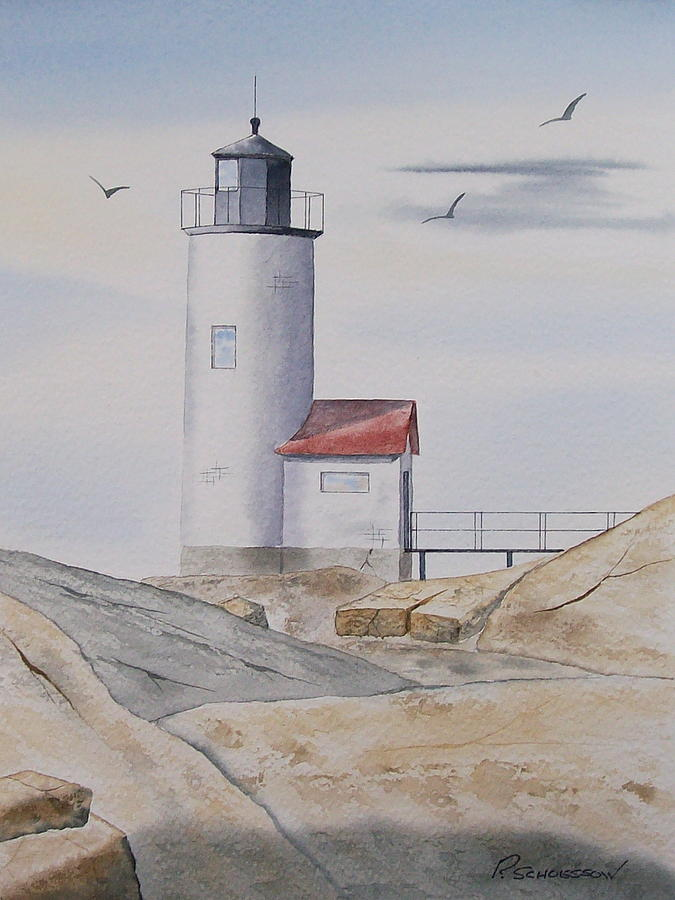 Landscape Painting - Annisquam Lighthouse 2 by Richard Schoessow