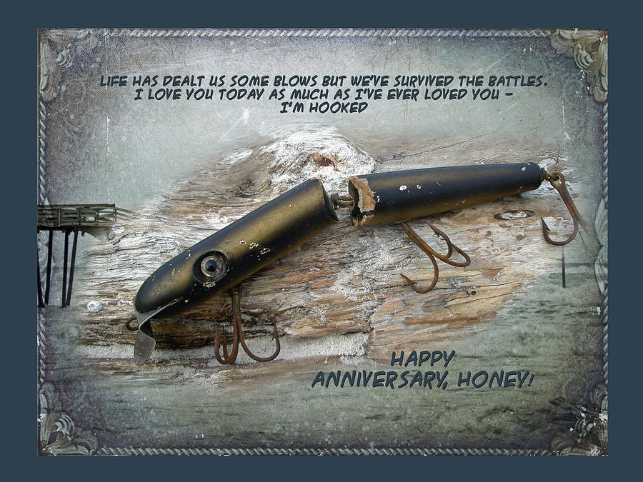 Anniversary Greeting Card - Vintage Saltwater Fishing Lure