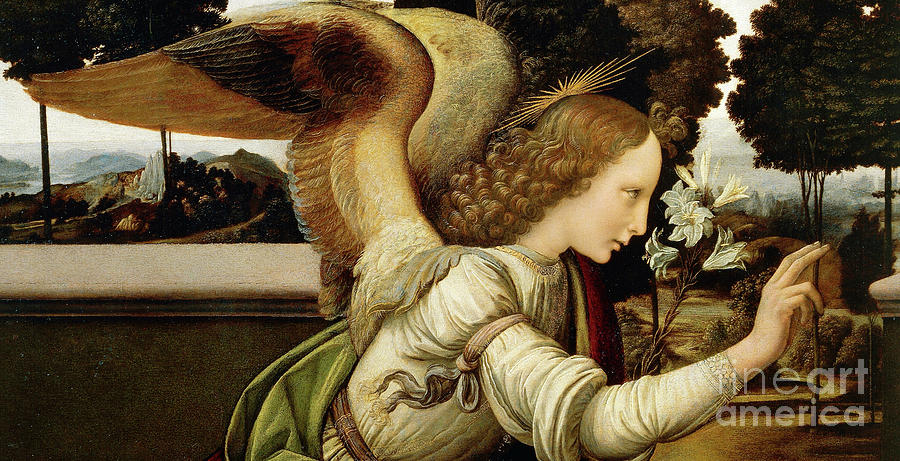 Angel Painting - Announcing Angel, Detail From Annunciation by Leonardo da Vinci