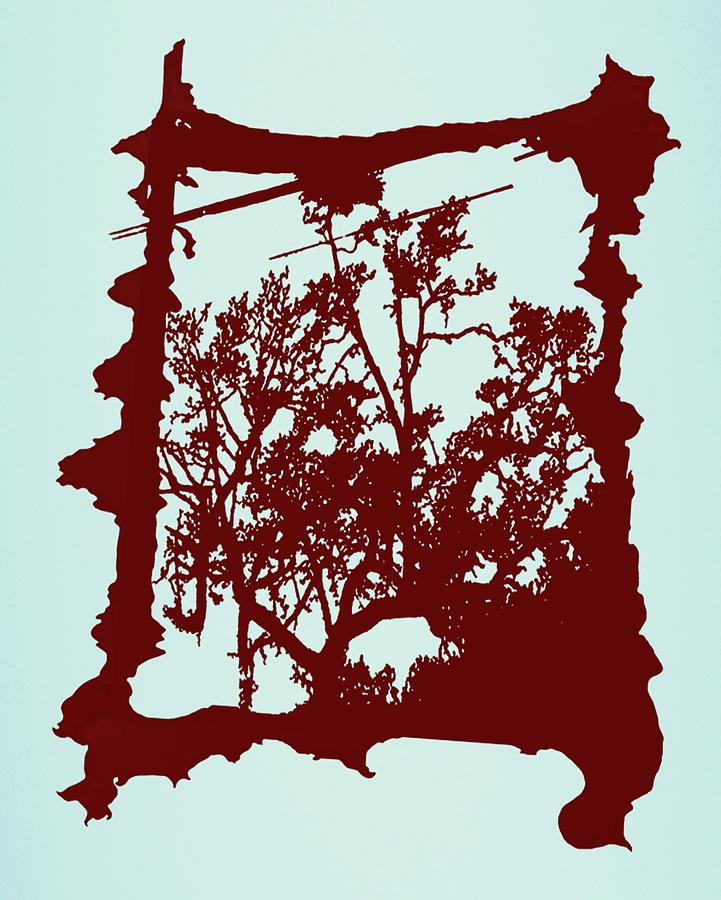 Abstract Digital Art - Another Creepy Tree by Kristin Sharpe