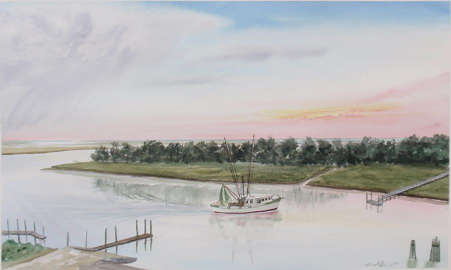 Shrimp Boat Painting - Another Day At The Office by Lane Owen