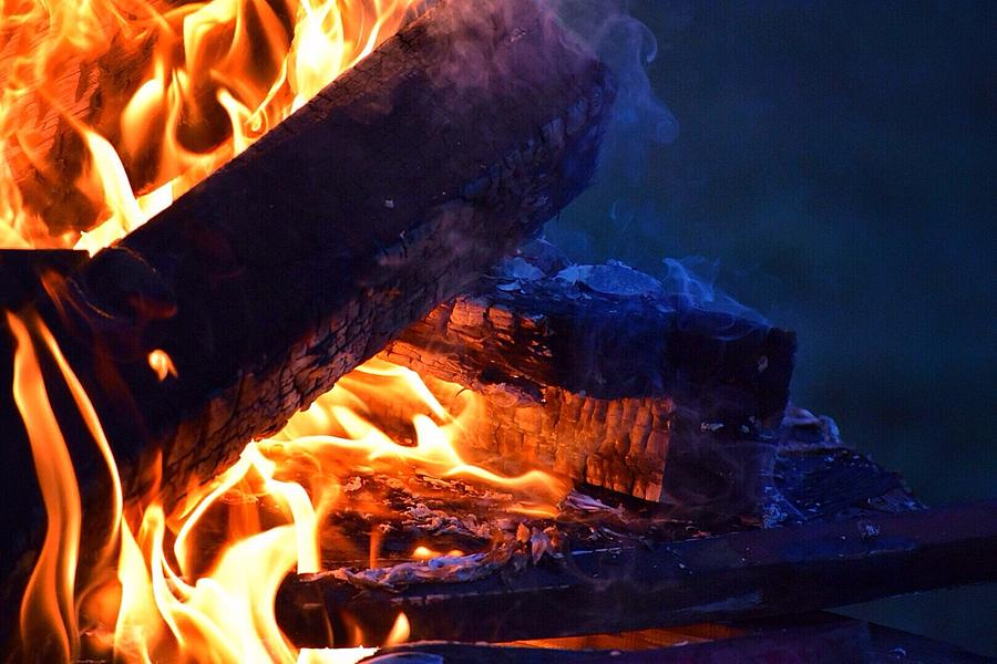 Fire Photograph - Another Log On The Fire by Albany McCabe