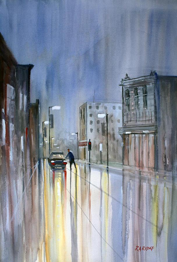 Street Scene Painting - Another Rainy Night by Ryan Radke