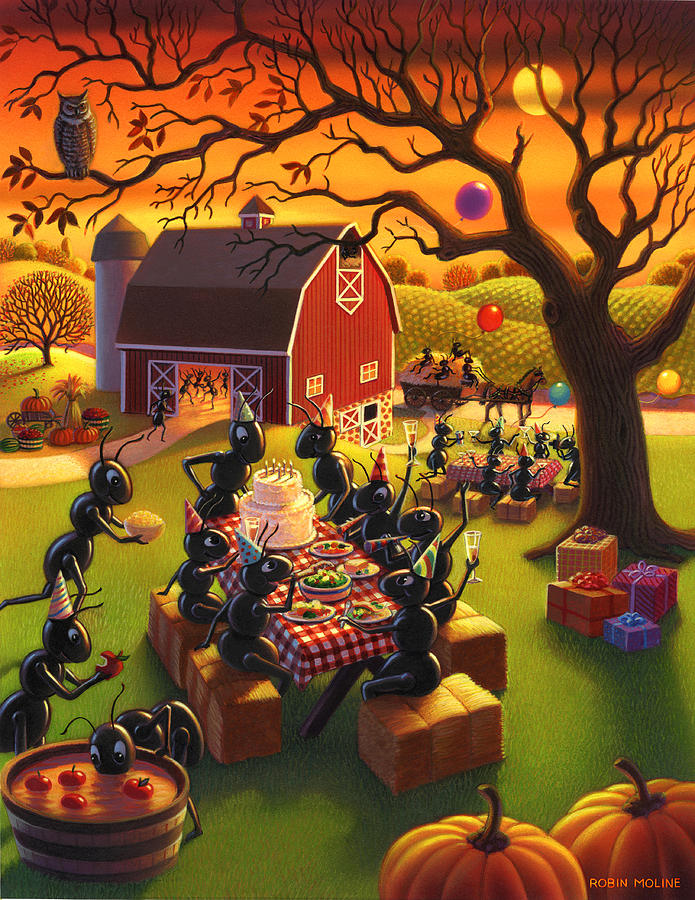 Ant Characters Painting - Ant Party by Robin Moline