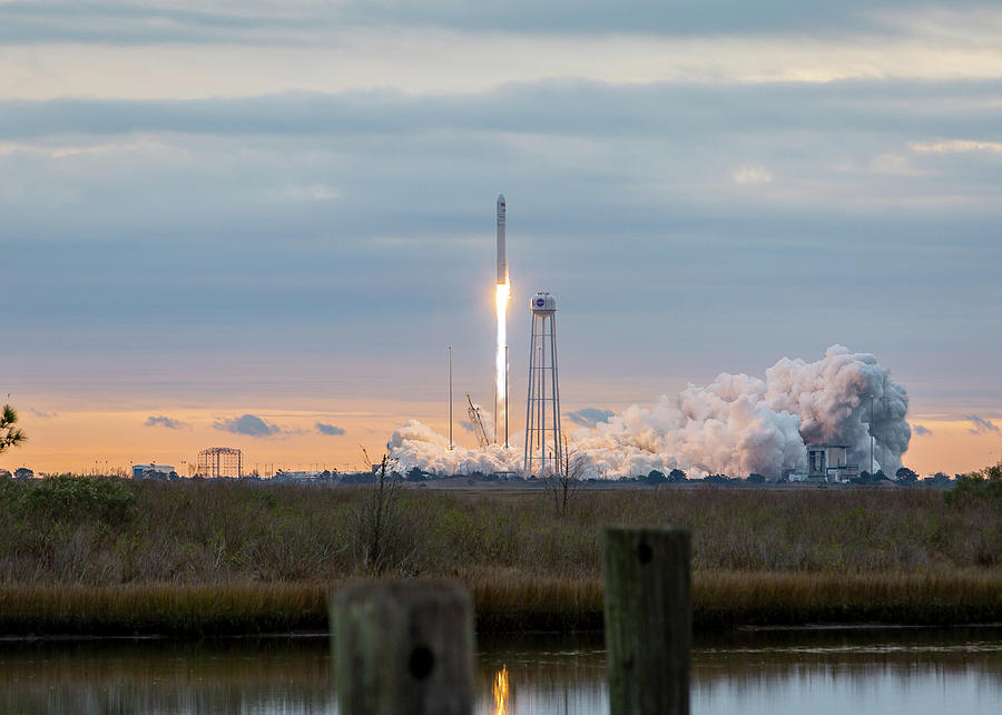 Landscape Photograph - Antares Launch From Wallops Island by M C Hood