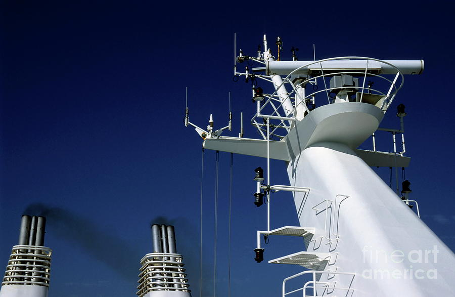 Aerial Photograph - Antennas And Chimneys On A Large Ferry by Sami Sarkis