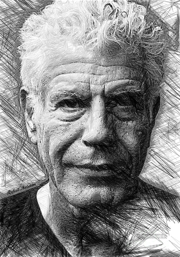 Anthony Bourdain - Ink Drawing by Rafael Salazar