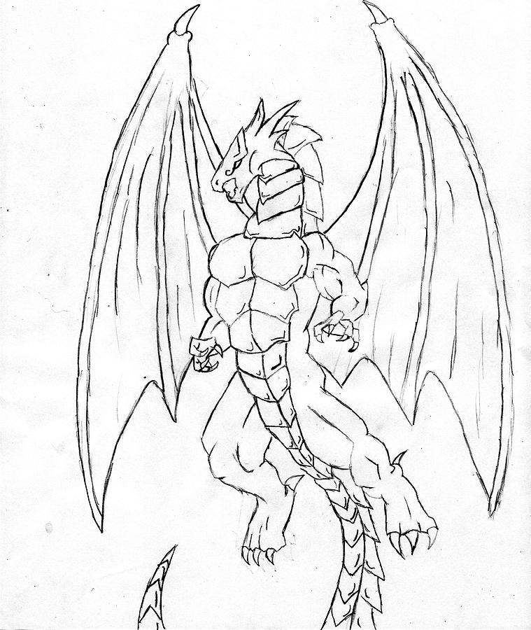 Anthropomorphic Dragon Drawing by Alexander Cisneros