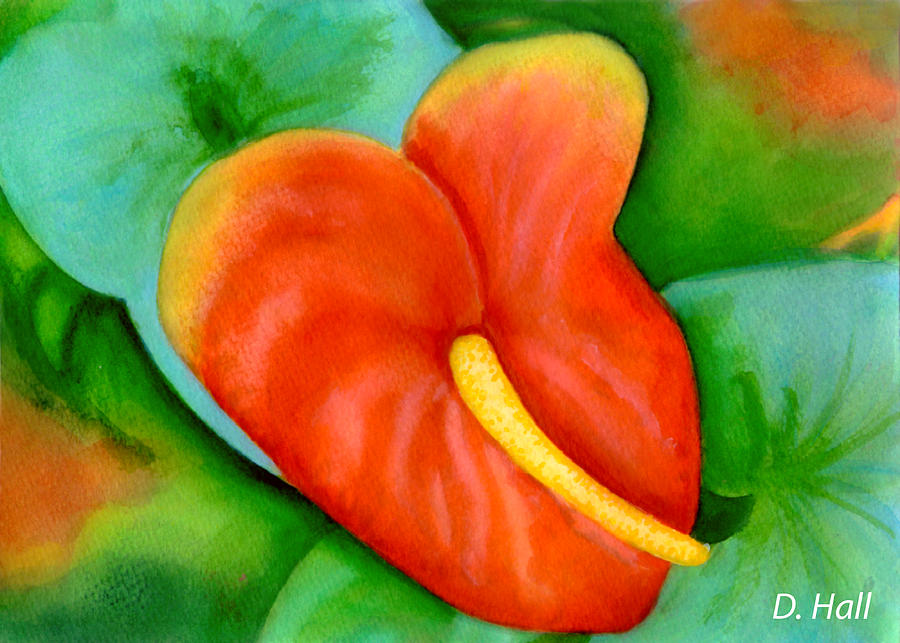Anthurium Painting - Anthurium Flowers #228 by Donald k Hall