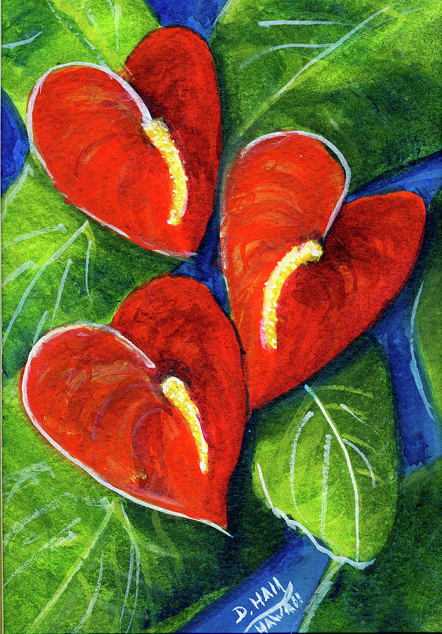 Anthurium Painting - Anthurium Flowers #272 by Donald k Hall