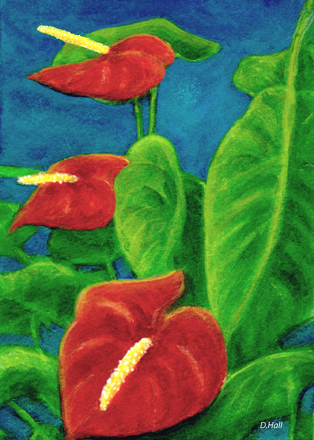 Anthurium Painting - Anthurium Flowers #296 by Donald k Hall