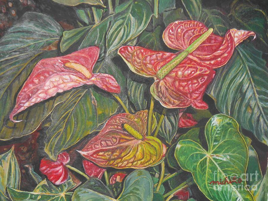 Anthurium Painting - Anthurium by Michiko Kohagura