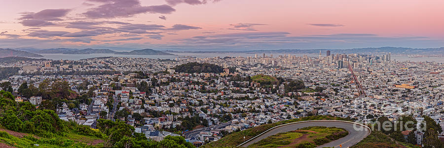 Downtown Photograph - Anti-crepuscule Panorama Of San Francisco From Twin Peaks Scenic Overlook - California by Silvio Ligutti