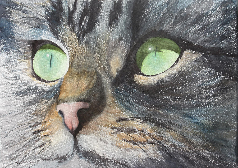 Big Green Cat Eyes Painting - Anticipation by Ally Benbrook