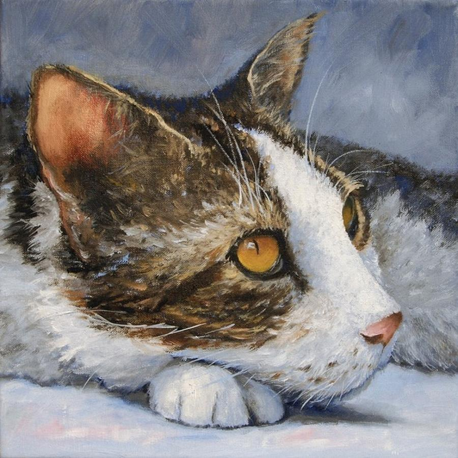 Cat Painting - Anticipation by Debra Mickelson