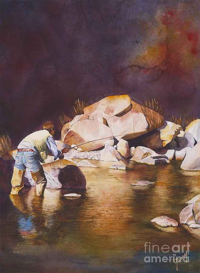 Fly Fisherman Painting - Anticipation by Jany Schindler