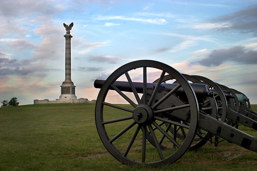 Cannon Photograph - Antietam Cannon And Monument At Sunset by Judi Quelland