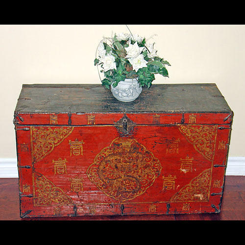 Antique Mixed Media - Antique 19th C. Tibetan Chest    by Tibet