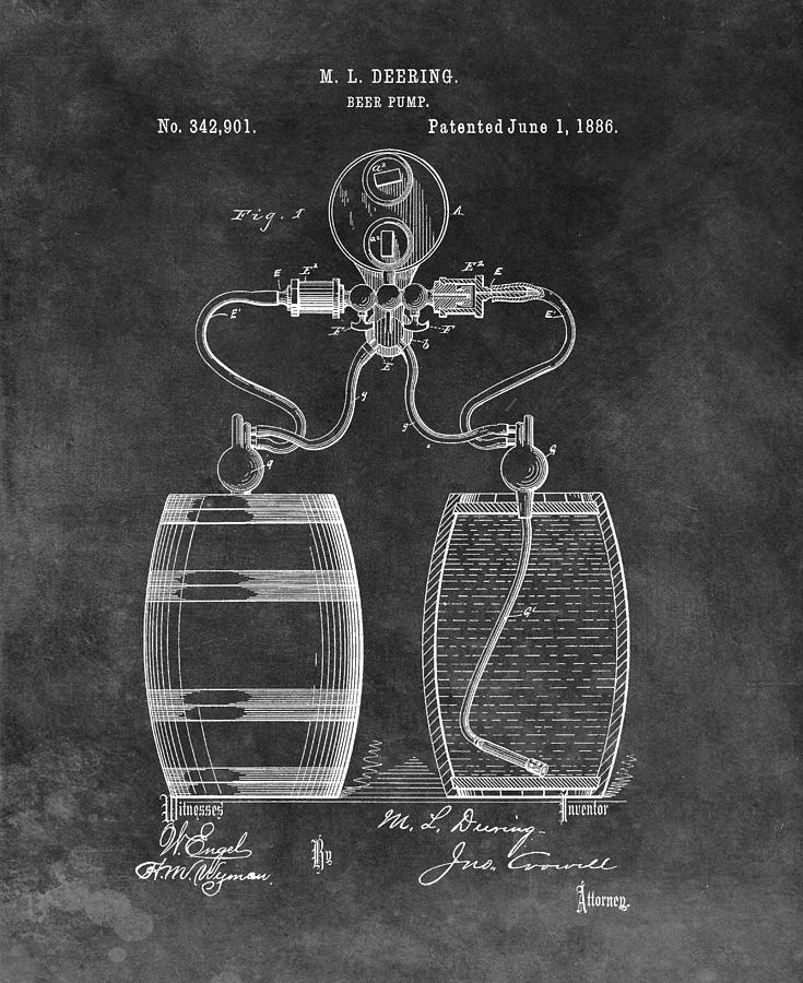 Antique Beer Pump Patent Drawing