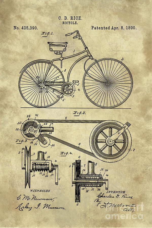 Antique bicycle blueprint patent drawing plan industrial farmhouse bicycle drawing antique bicycle blueprint patent drawing plan industrial farmhouse by tina lavoie malvernweather