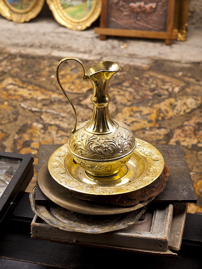 Skopje Photograph - Antique Brass Pitcher by Rae Tucker
