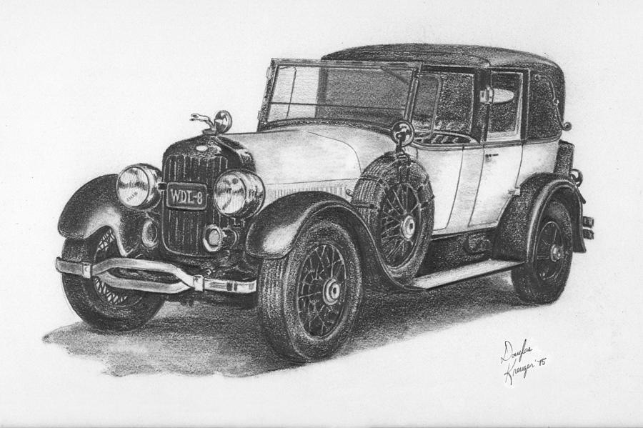 Antique Car Pencil Study Drawing By Doug Kreuger