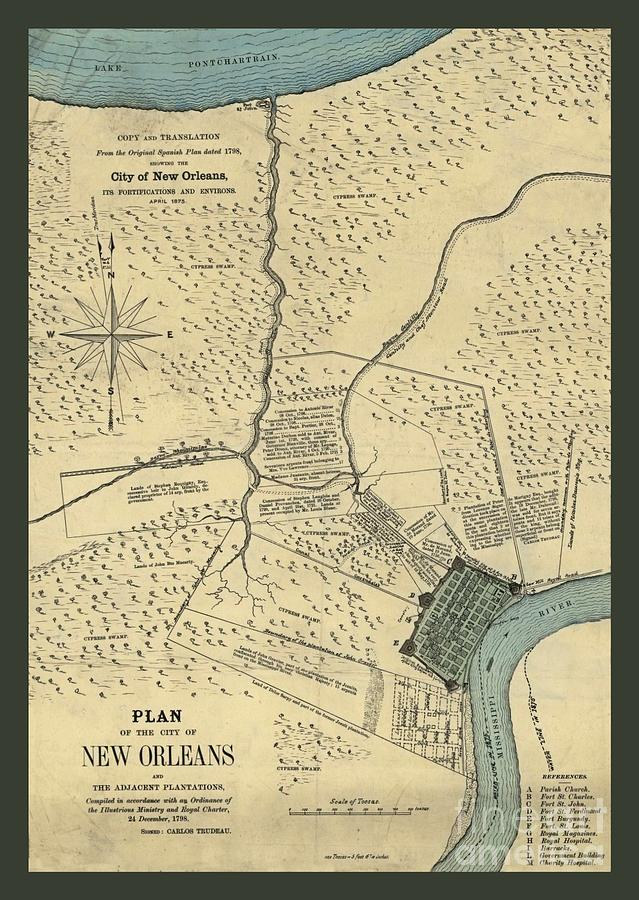 Antique New Orleans Map.Antique Color Map Of New Orleans By Pd