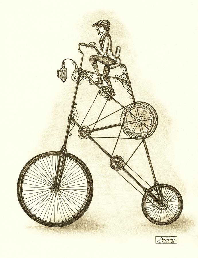 Pen And Ink Drawing - Antique Contraption by Adam Zebediah Joseph
