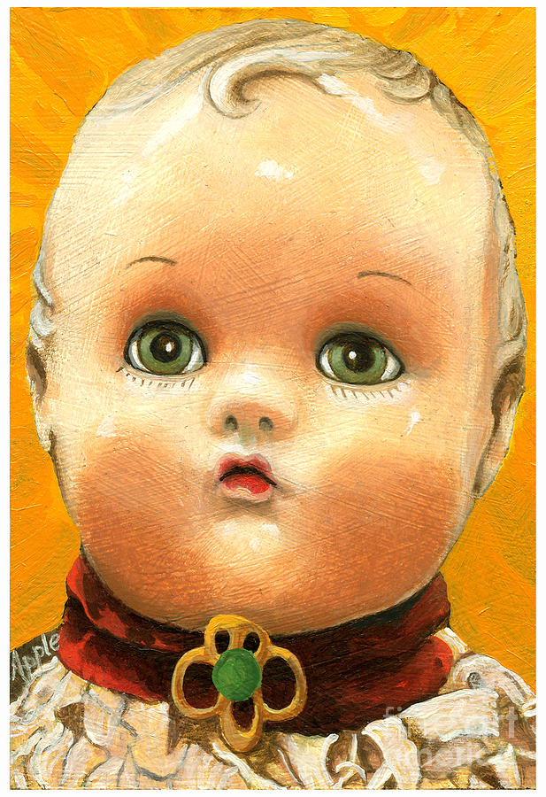 Antique Toy Painting Painting - Antique Doll Oil Painting by Linda Apple