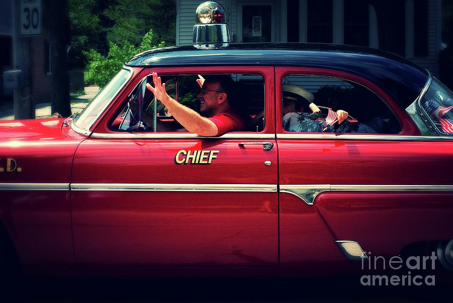 Antique Fire Chief Car Photograph