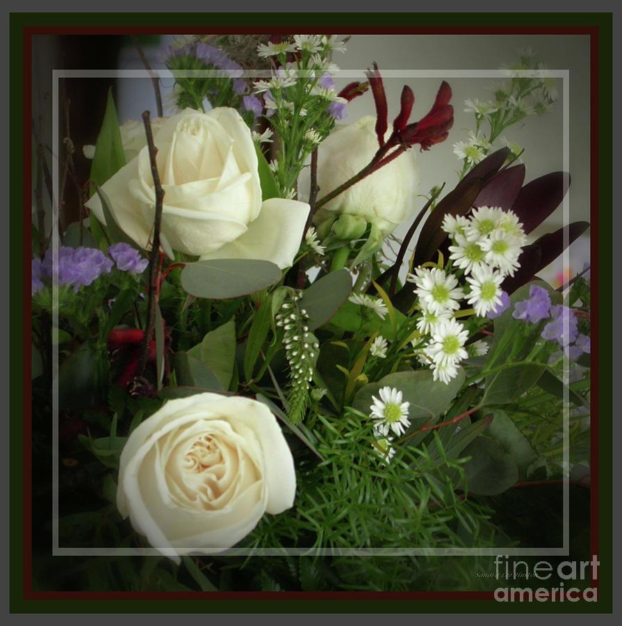 Still Life Photograph - Antique Floral Arrangement Framed by Sandra Huston