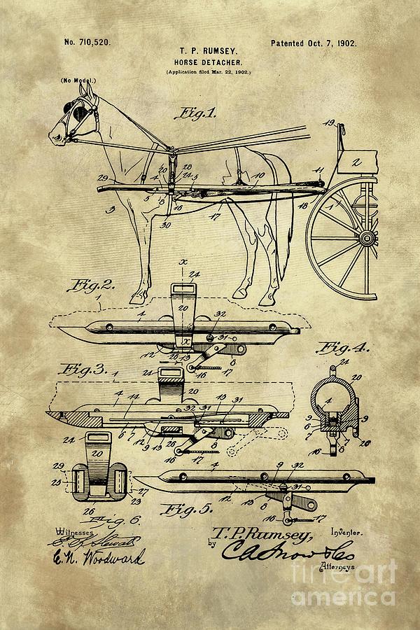 Antique horse detacher blueprint patent drawing plan from 1902 horse drawing antique horse detacher blueprint patent drawing plan from 1902 by tina lavoie malvernweather Choice Image
