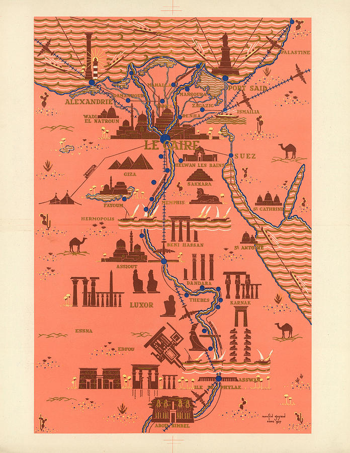 Antique Illustrated Map Of Egypt _ Monuments Around River Nile - Cairo, Luxor, Abu Simbel Mixed Media