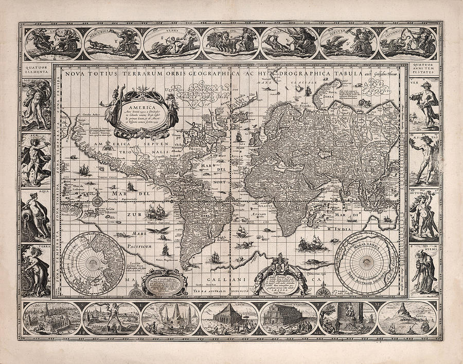 Antique Illustrated Map Of The World - Rivers Of The World - Illustrated Chart - Old Map Drawing
