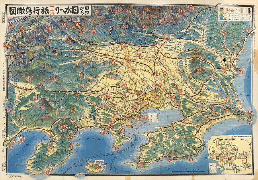 Antique Japanese Map Showing Road And Rail Routes - Historical Map - Cartography Mixed Media