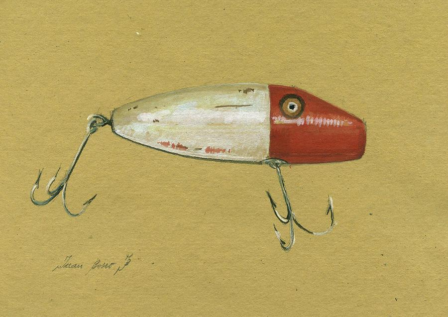 Rainbow Trout Painting - Antique Lure Bait by Juan Bosco