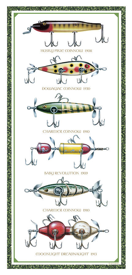 Jon Q Wright Painting - Antique Lure Panel by JQ Licensing