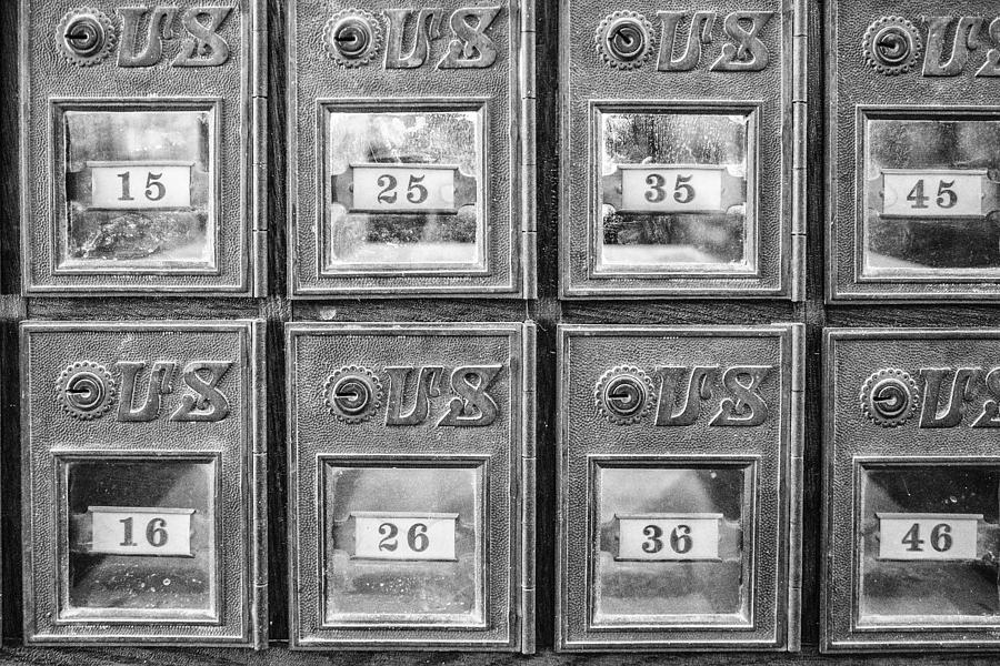 Antique Mailbox Black and White by Kathy Adams Clark