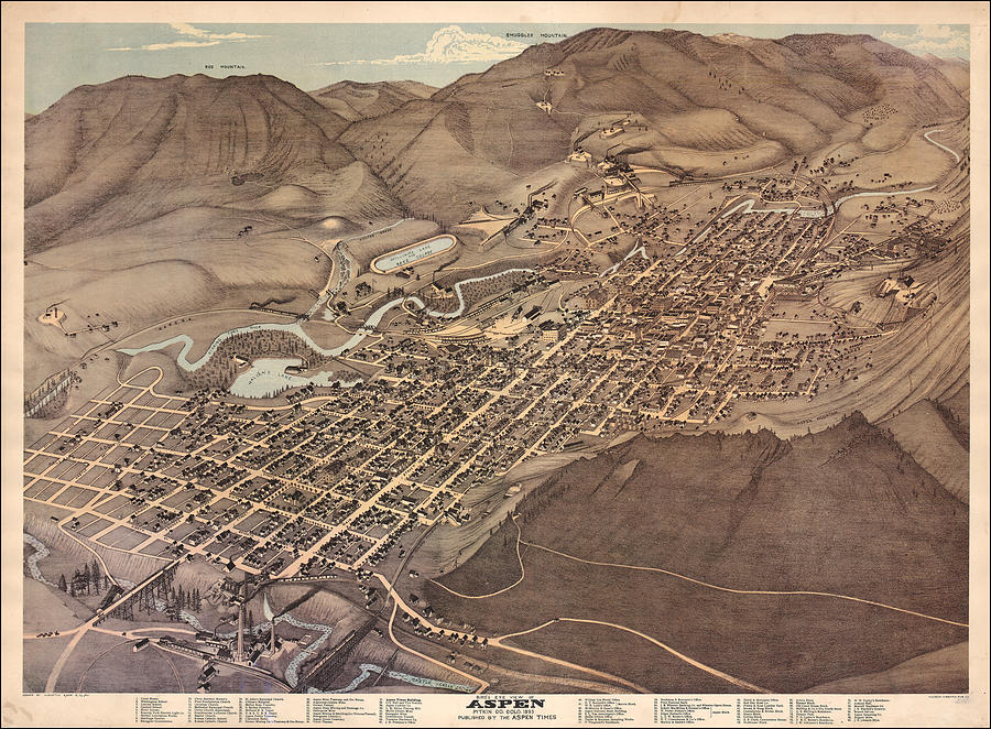 Antique Map - Aspen Colorado Drawing by Augustus Koch