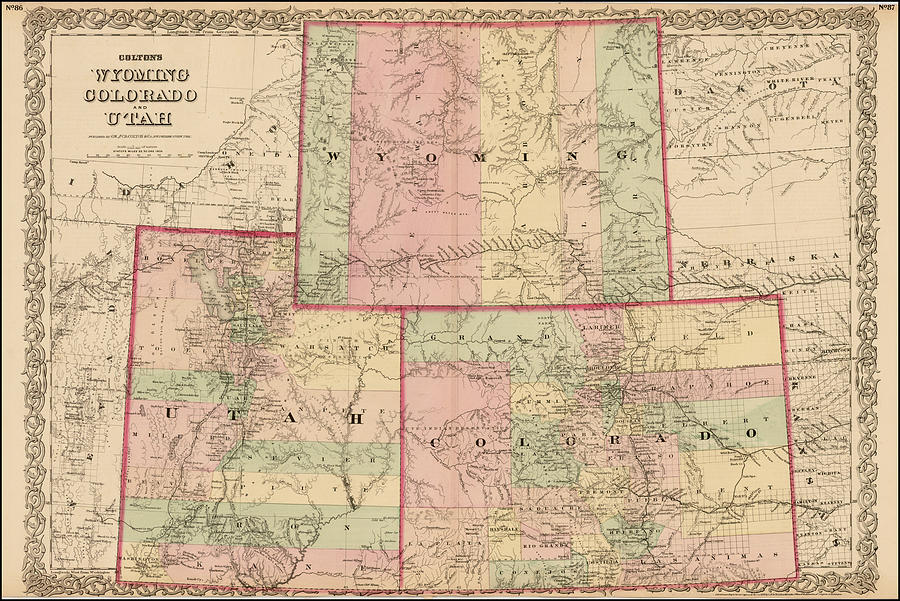 Antique Map   Colton's Wyoming Colorado And Utah 1876 Drawing by