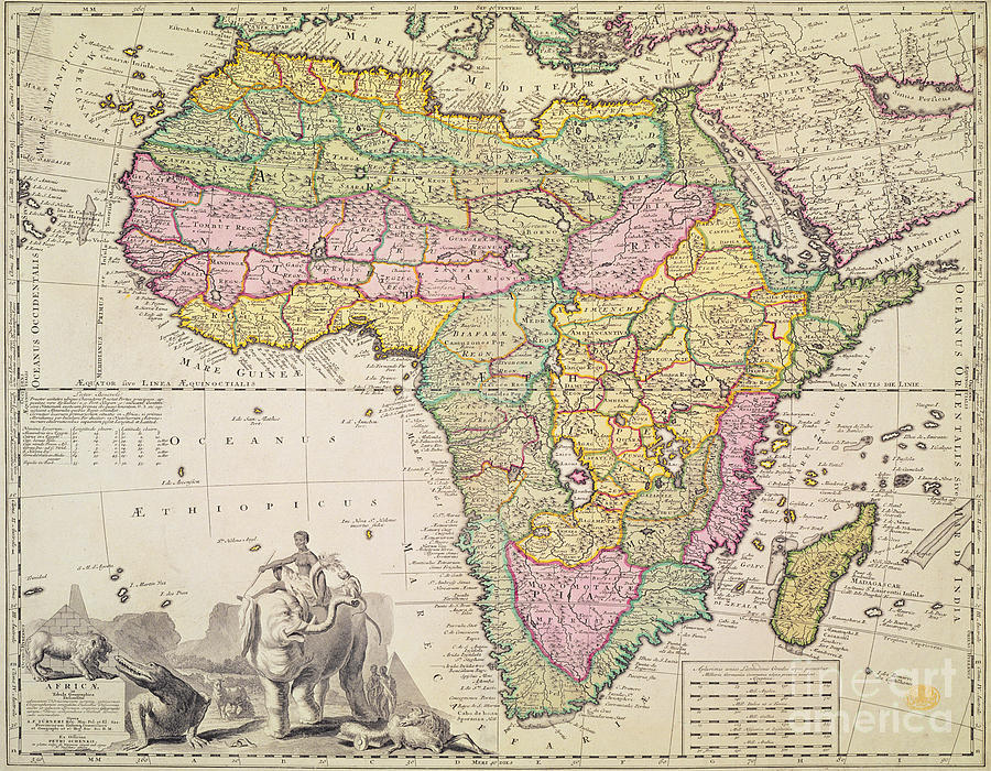 Antique Map Of Africa Drawing by Pieter Schenk