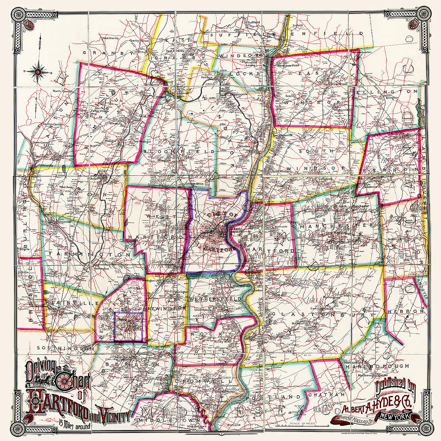 Horse Carriage Era Driving Map Of Hartford Connecticut Vicinity 1884