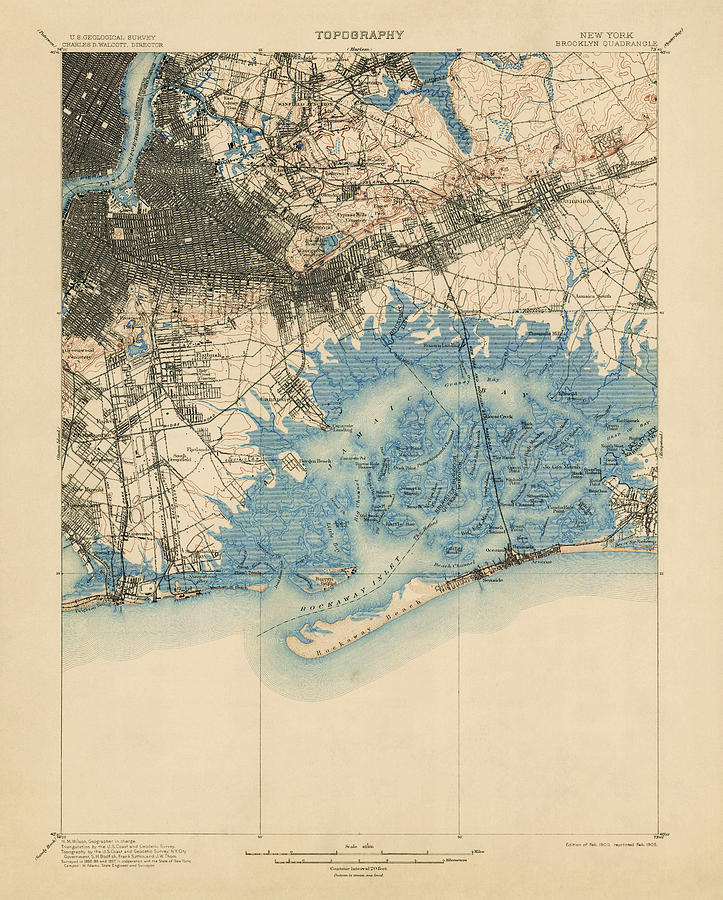 Antique Map Of Brooklyn And Queens New York City Usgs